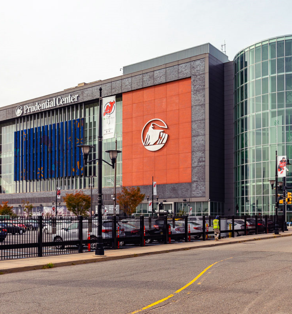 Building exterior of Prudential Center and parking lot