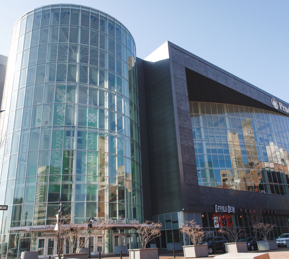 Building exterior of glass at Prudential Center and Devils Den